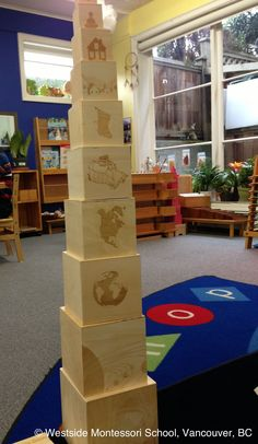 Biosphere Nesting Boxes - presenting a child's world from largest to smallest, building global awareness and a connectedness to our place in the universe. Milky Way Galaxy, Solar System, Earth, North America, Canada, BC, Vancouver, Westside Montessori School, child, energy.