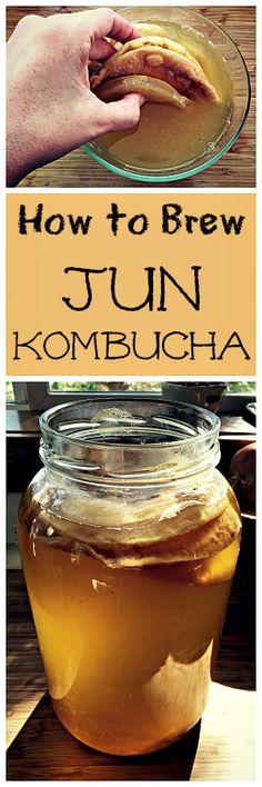 Jun Kombucha is similar to regular kombucha but uses green tea and honey instead of black tea and sugar. Make your own fermented probiotic Jun tea Jun Kombucha, Kombucha Flavors, How To Brew Kombucha, Kombucha Recipe, Probiotic Drinks, Kombucha Brewing, Kombucha Scoby, Making Kombucha, Kombucha Drink