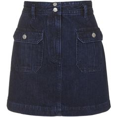 TOPSHOP MOTO Utility Pocket Skirt (67 CAD) ❤ liked on Polyvore featuring skirts, bottoms, denim, indigo denim, topshop skirts, knee length a line skirt, a line skirt, pocket skirt and topshop