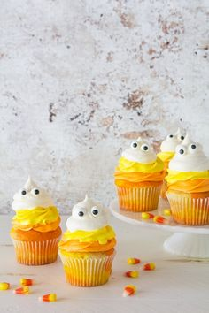 Candy Corn Ghost Cupcakes _ Bakers Royale