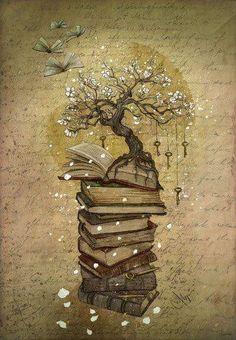 Reading, the key to knowledge (illustration Marine Loup) Book Tattoo, Tattoo Tree, Tattoo Quotes, Keys Art, Urban Art, Book Worms, Book Lovers, Good Books, Pics Of Books
