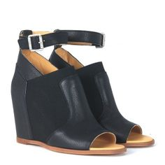 Laterale Sandalo zeppa MM6 Maison Margiela open toe in pelle nera