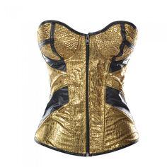 Golden Burlesque Fashion Corset
