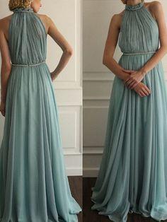 simple prom dresses, A-line Scoop Floor-length Chiffon Prom Dress/Evening Dress #MK015