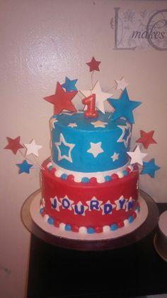 Red white and blue star birthday cake