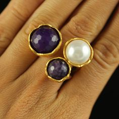 Triple Flower Ring Pearl, $29, now featured on Fab.