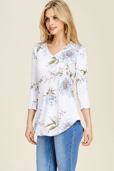 Missy floral front knot top features a sleeve and lovely floral print Available in 4 colors Made in USA Fabric is a polyester/spandex blend Online Clothing Boutiques, Peasant Blouse, Top Knot, Wholesale Clothing, Floral Tops, Cool Outfits, Tunic Tops, Boho, Clothes For Women