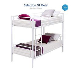 UEnjoy White Single Metal Bunk Bed Frame 2 Person for Adult Children - Best UK Mattress Store Online Wooden Bunk Beds, Metal Bunk Beds, Cool Bunk Beds, Twin Bunk Beds, Bunk Bed Mattress, Best Mattress, Sofa Bed Blue, Kids Bedroom Organization, Bedroom Night Stands