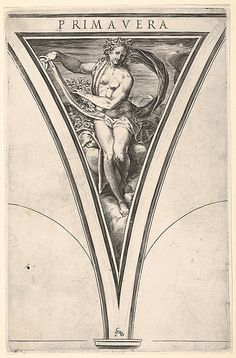 "Cherubino Alberti (Zaccaria Mattia) (Italian, 1553–1615). ""Spring"" (from ""The Four Seasons"" after Polidoro da Caravaggio). The Metropolitan Museum of Art, New York. Bequest of Phyllis Massar, 2011 (2012.136.124.3) #spring"