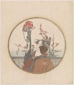 Echtpaar met aap en bloesemtak | Hokusai | c.1890 - c.1900 | Rijksmuseum | Public Domain