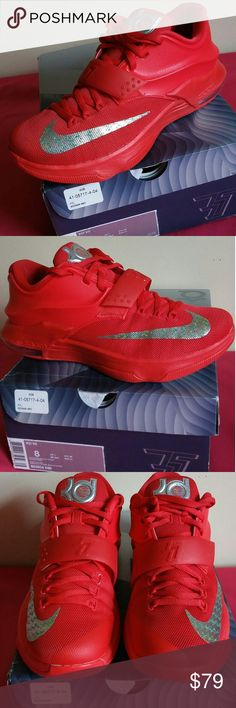 Nike Kd 7 Global Action Red Metlc Slv SIZE 8 MEN Purchased this just under 5 months for $192  and use them about 10 times. Shoes is in great shape and well taken care of. Signs of used mainly shown on under soles. SHOES COMES WITH ORIGINAL BOX...Guaranteed to be 100% authentic nike merchandise and rated 8/10..WOMEN OF SIZE 10 can use this as well. Nike Shoes Sneakers