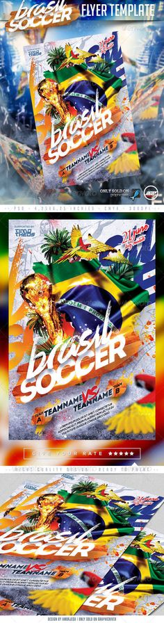 Brasil Soccer Flyer Template by amorjesu Brasil Soccer Flyer Template Exclusive, Cool style and More Sensation Party..PSD FEATURE 4 x 6 with .25 bleed 300 DPI CMYK Quick a