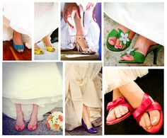 Colored shoes are a great way for the brides to show her personality; it's a fun and unique look on her wedding day. White or ivory wedding gowns will match almost any brightly colored shoe.
