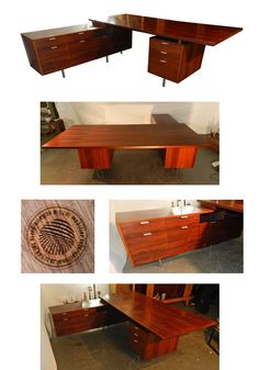GEORGES NELSON, BUREAU EXECUTIVE DESK EN PALISSANDRE, EDITION HERMAN MILLER 1960