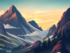 REI End of Season // Brian Edward Miller     illustration color sunset mountains flat gradients