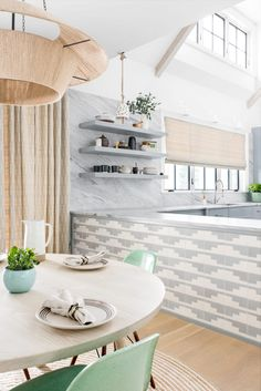 southwest style grey and white tile with dramatic marble in the kitchen | house tour on coco kelley