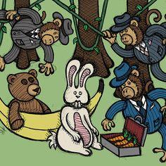 Teddy Bear And Bunny - Monkey Business
