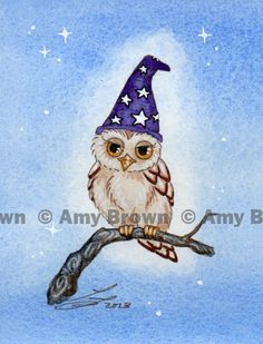 ORIGINAL Wizard OWL PAINTING 4 by Amy Brown by AmyBrownArt on Etsy