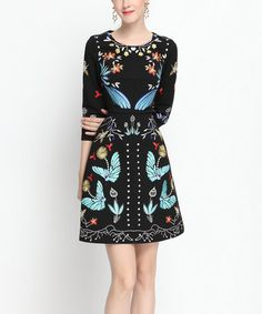 Another great find on #zulily! Black & Turquoise Butterfly Embroidered A-Line Dress #zulilyfinds