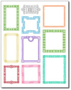 Free printable vintage framed ornamental labels by Cathe Holden of justsomethingimade.com in several colors including red and black. Download at blog.worldlabel.com
