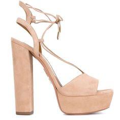Aquazzura 'Austin' sandals ($785) ❤ liked on Polyvore featuring shoes, sandals, aquazzura shoes, open toe platform shoes, self tying shoes, beige shoes and beige sandals