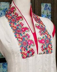 Front Neck (Gala) Designs 2015 for Ladies Suits Catalogue for Churidars, Frocks Kameez, Shirts, Kurti Cotton