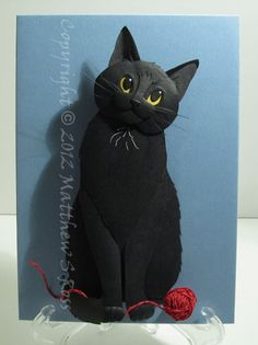 Black CAT Paper Sculpture 5x7 by Matthew Ross by PaperMatthew