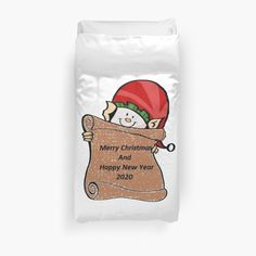#Merry #Christmas #Happy #New #Year #Duvet #Cover #friends #family #elf #2020#