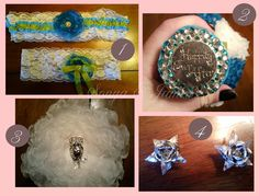 DIY Bride: SONYA W. creates her own garters, flower bouquet, sash flowers, and updates her Grandmother's earrings, and much more. Diy Wedding Projects, Diy Projects, Just Amazing, Happily Ever After, Bridal Accessories, Sash, Fascinator, Bouquet, Garter
