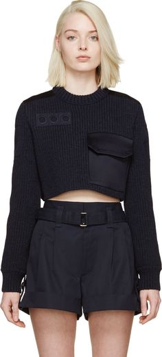 Marc Jacobs Navy Cropped Knit Sweater
