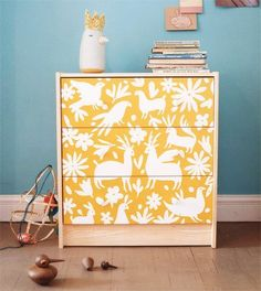 diy dresser using stencils and paint...so cute. could do this for kitchen curtains!