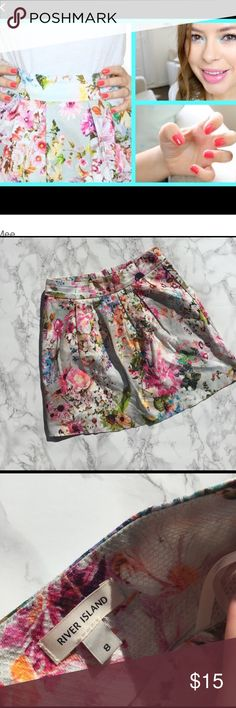❗️As seen on TANYA BURR❗️ Floral skirt River island floral skirt super cute bright skirt great for summer and spring. Worn once. Near perfect condition. Hidden zipper. Little/no stretch. Feel free to ask any questions you may have. ❗️ seen on TANYA BURR❗️8uk 4us. Not white it's a very light grey ASOS Skirts Circle & Skater