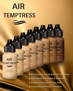 Air Temptress Airbrush Foundation comes in 2 choices: the light to medium and the medium to dark. Each pack has 4 full ounce bottles (30 ml), unlike other brands that usually sell in smaller sample sizes.