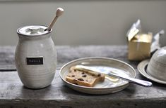 Rustic Honey Pot in Ivory Cream and Brown by JustWork on Etsy, $40.00