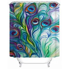 MUST have for my bathroom!!! Fantastic Creative Peacock Colorful World Shower Curtain  on sale, Buy Retail Price 3D Shower Curtains at Beddinginn.com