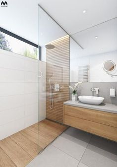 Bathroom Design Tile Walk In Shower Window 65 Super Ideas Master Bathroom Shower, Wood Bathroom, Bathroom Renos, Small Bathroom, Natural Bathroom, Ensuite Bathrooms, Light Bathroom, Mirror Bathroom, White Bathroom
