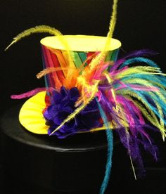 Funky Rainbow And Yellow Mini Top Hat for Dress by daisyleedesign