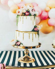 Naked Cakes for the wedding - Hochzeitstorte - Wedding Cakes Wedding Cakes With Flowers, Cool Wedding Cakes, Beautiful Wedding Cakes, Wedding Cake Toppers, Beautiful Cakes, Wedding Cake Gold, Cake With Flowers, Drip Cakes, Naked Cakes