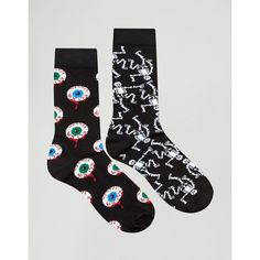 Urban Eccentric Halloween Socks In 2 Pack (42 BRL) ❤ liked on Polyvore featuring men's fashion, men's clothing, men's socks and multi