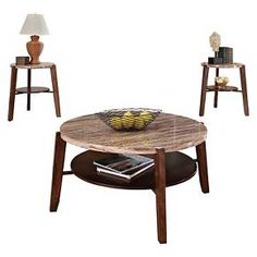 3 Piece Nadav Pack Square Coffee End Table Set Faux Marble - ACME : Target