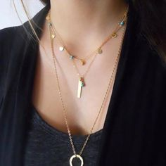 Gold and Turquoise Long Layering Necklace