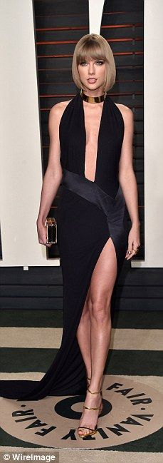 Lady in black: Singer Taylor was classic in black...