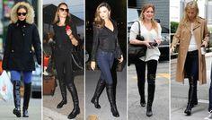 Celebrities wearing stuart weitzman 5050 flat boots