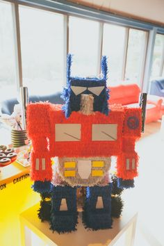 Optimus Prime Piñata from a Transformers Birthday Party via Kara's Party Ideas | KarasPartyIdeas.com (2)
