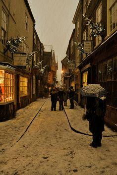 Shambles in Snow, York England by mattcornock York Uk, York England, Christmas In England, New York Christmas, White Christmas, Yorkshire England, Yorkshire Dales, North Yorkshire, Visit Yorkshire