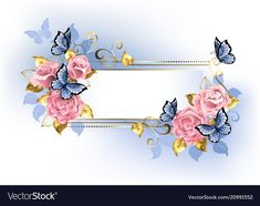 Buy Narrow Banner with Pink Roses by on GraphicRiver. Narrow banner with pink roses, blue and gold leaves with blue butterflies on white background. Photo Frame Maker, Floral Frames, Background Clipart, Blue Nose Friends, Bloom Blossom, One Stroke Painting, Decoupage Vintage, Borders And Frames, Arte Floral