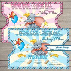 Nice Dumbo Circus Ticket Style Baby Shower Invitations  Dumbo Invitation