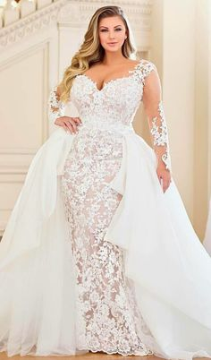 Wedding Gowns with Sleeves for the Plus Size Curvy Bride