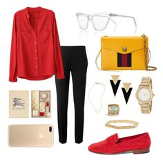 """red"" by shabnampzh on Polyvore featuring Prism, Chloé, Gucci, DKNY, Yves Saint Laurent, Burberry, Lucky Brand, Sydney Evan and Madewell"