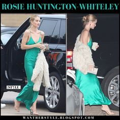 Rosie Huntington-Whiteley in green silk slip dress and sandals #model #style #fashion #nightout #outfit #glamorous #chic